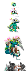 Native Fossil Digimon Line by Darksilvania