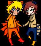 Kitsune and Tanuki by MadeaGwyn