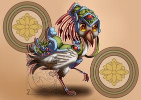 Chibi Mounts - Golden Regal Crane by LadyRosse