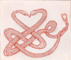 Celtic love snakes by Snake-Artist