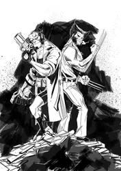 Hellboy Wolverine by IttoOgamy