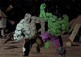 Frankenstein vs Hulk by IttoOgamy