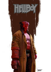 I just love the samurai hairstyle of Hellboy by IttoOgamy