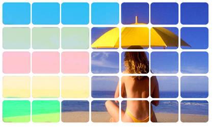 beach girl umbrella by yearry