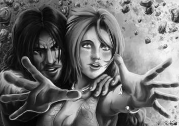 Jawaad et Lisa noir et blanc by psychee-ange