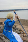 Saber Cosplay Looking to the River by HatterSisters