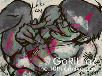 Gorillaz The 10th Anniversary by rokutobiyamori