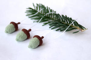 Holiday Ornaments Mint Green Crocheted Acorns by TheBittiestBaubles