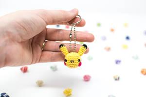 Pikachu Head Keychain by TheBittiestBaubles