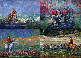 Four Fox Hunting Paintings by linandara