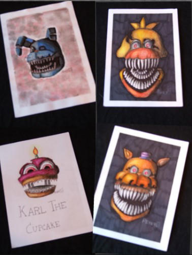 Five Nights At Freddy's head drawings by PsykopathBarthory