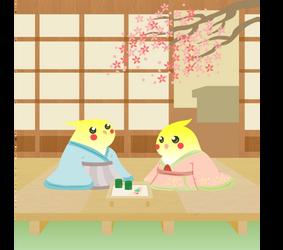 kimono cockatiels by rainELL