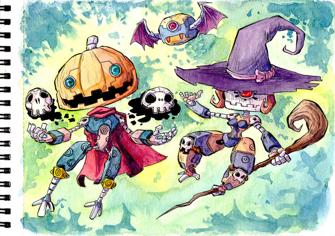 Halloween - Robowitch-chan and Robopumpkin-kun by Mohsqi