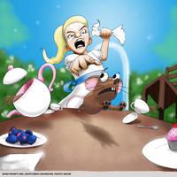 Word prompt: Girl-white dress-teapot-mouse-shrooms by gandarewa