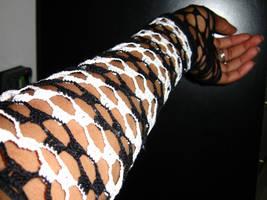 Black and White Elbow Gloves by motheroftheforsaken