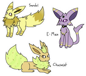 Eeveelution Adopts 3 - CLOSED by Kawitekew