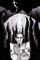 Lovecraft and the Necronomicon by UncleGuts
