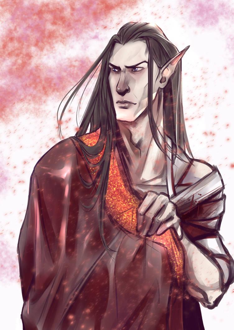 Black-hair elf in a sakura by Lanakiseloff