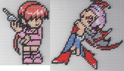 Needlepoint Shermie and Lilith by missy-tannenbaum