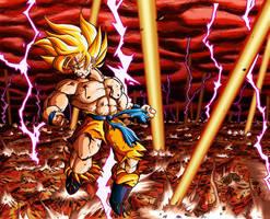 Goku SSJ explosion Namek by Leackim7891