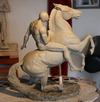 Athenian Horseman in clay by Sculptor-Robert-D