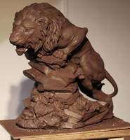 lion hunting by Sculptor-Robert-D