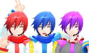 MMD Kaito,Akaito,And Taito by Shichi-4134