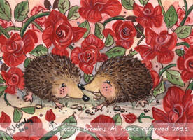 ACEO Hedgehogs Valentine by JoannaBromley