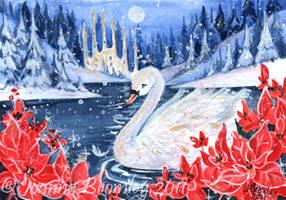 ACEO 'Swan e Poinsettias' by JoannaBromley