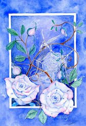 Sky Blue Pink Roses by JoannaBromley