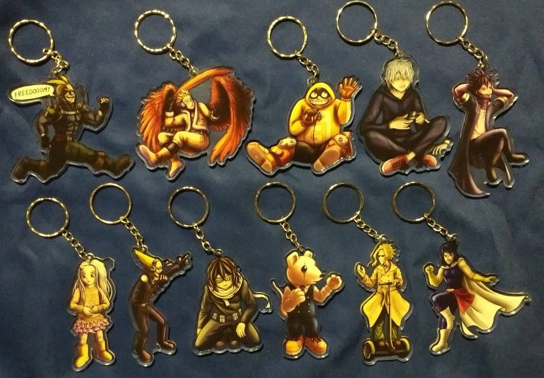 BNHA acrylic charms - size comparison by JeMiChi
