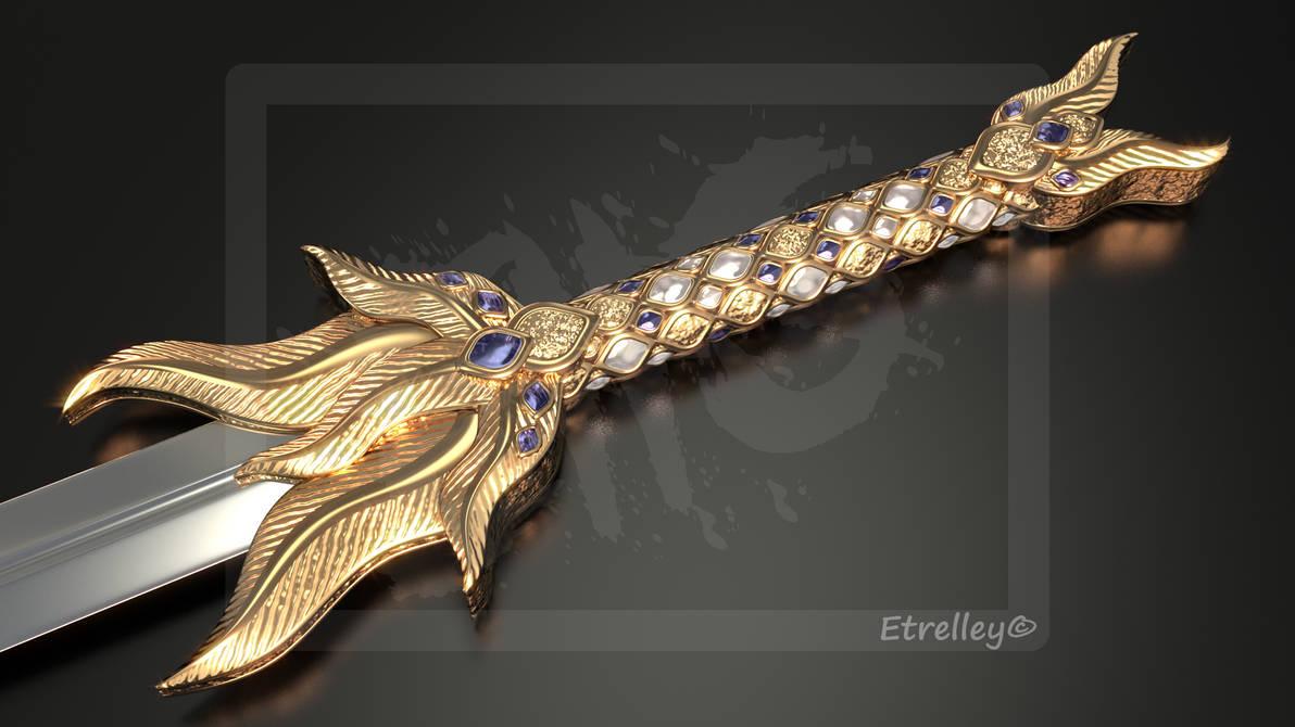 Golden Feather Sword - OC by Etrelley