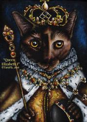 Elizabeth I Cat in Coronation Robes by TaraFlyArt