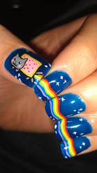 Nyan Cat Nails :3 by Splodes