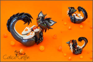 Tori - gunmetal griffin - polymer clay by CalicoGriffin