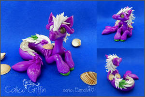Purple Seahorse - polymer clay by CalicoGriffin