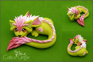 Pastel Cayo Dragon - polymer clay by CalicoGriffin