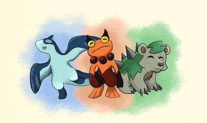 Fakemons - Oieayu Starters by Coffeeandspiders