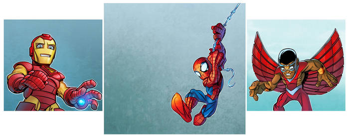 Spider-Man, Iron Man, and Falcon by robtlsnyder