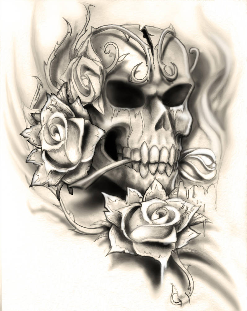 Skull Rose Tattoo Design By Neogzus On Deviantart