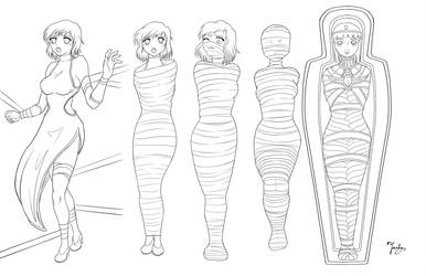 mummy curse lineArt by Yashasun