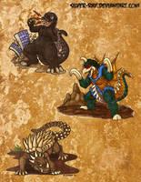 Random SD kaiju trio by Silver-Ray