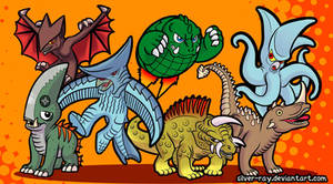 Gamera and foes by Silver-Ray