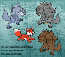 Canine designs- Werewolves and little fox by Silver-Ray