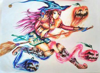Pumpwitch~ Pen Art by FakeWaffle