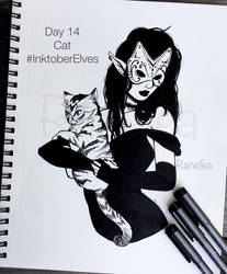 Inktober Elves Day 14 - Cat by Ranefea