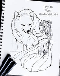 Inktober Elves Day 16 - Wolf by Ranefea