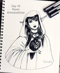 Inktober Elves Day 18 - Raven by Ranefea