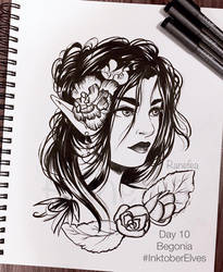 Inktober Elves Day 10 - Begonia by Ranefea