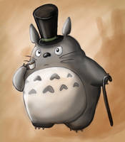 Gentlemanly Totoro by littlemisskirby